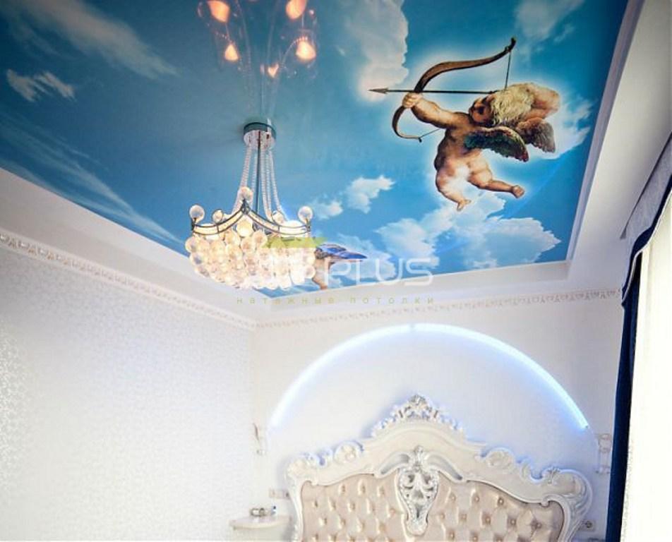 фотопечать на натяжной потолок с ангелочками последнюю субботу